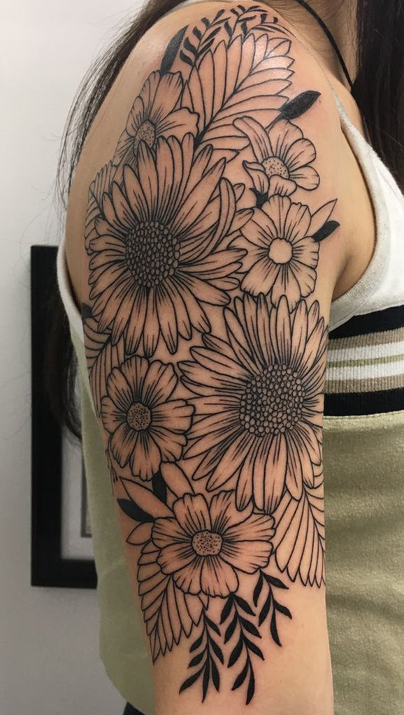 Beautiful Sunflower Arm Sleeve Tattoo ideas for Women - www.MyBodiArt.com