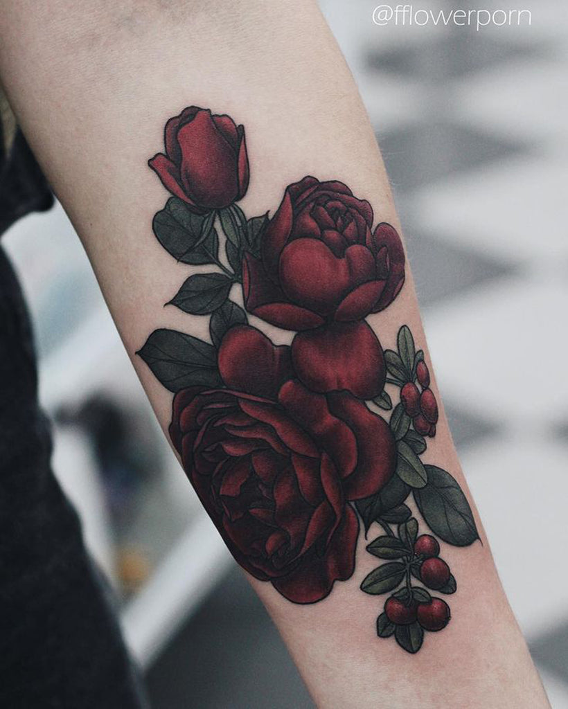 Rose Tattoo Sleeve Arm Wrist - MyBodiArt.com