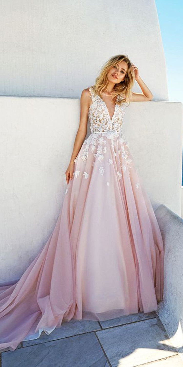 Graduation Party A Line Prom Dresses 2017 Pink White Floral Chiffon Lace - MyBodiArt.com