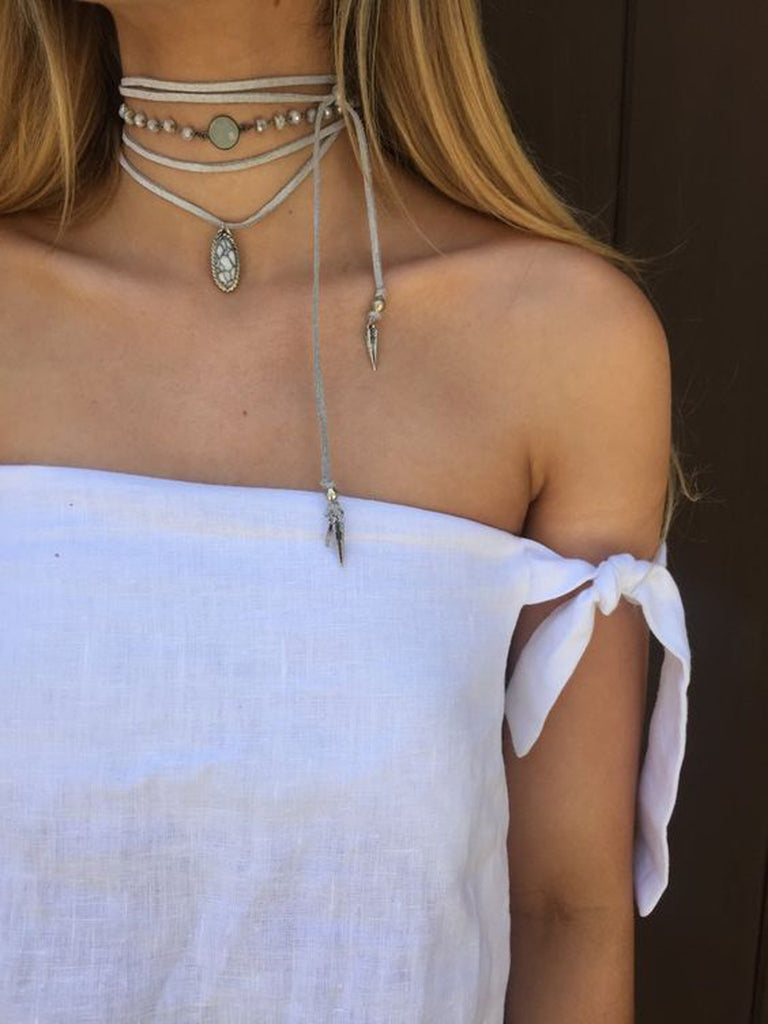 Bohemian Style Clothing Outfits - Boho Wrap Natural Beige Leather Choker Ideas at MyBodiArt.com