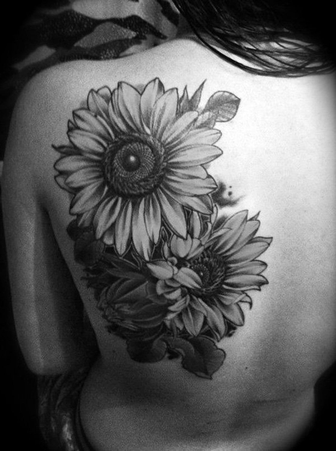 Large Black and White Sunflower Floral Flower Tattoo Ideas for Women at MyBodiArt.com