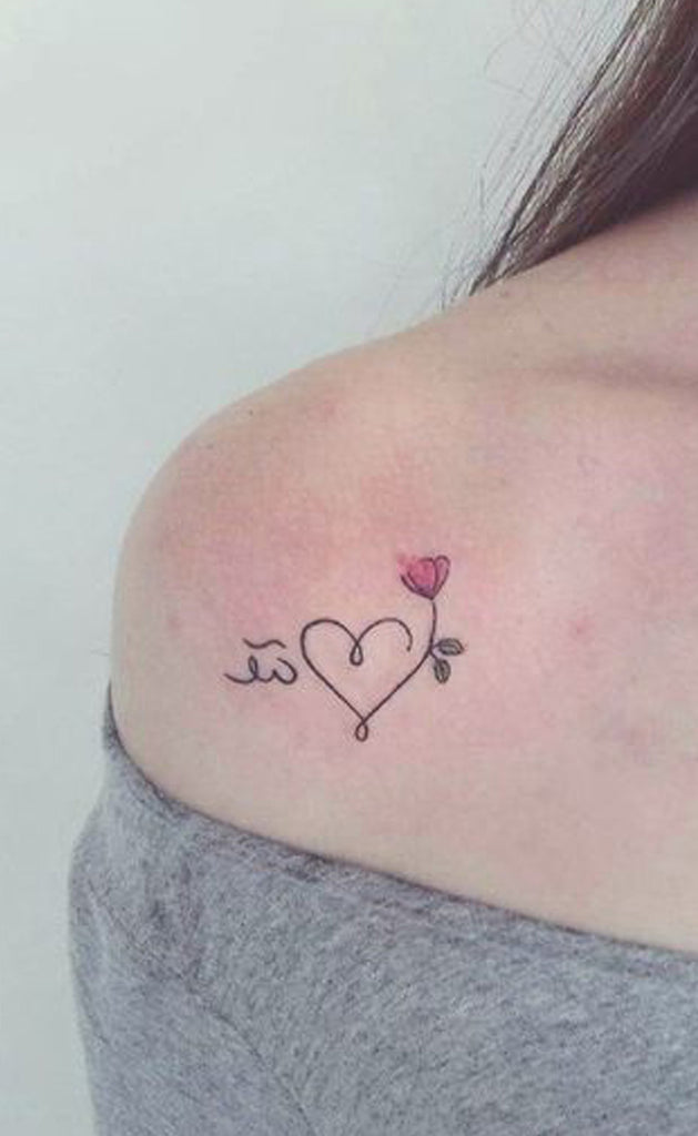 Cute Heart Line Watercolor Floral Flower Shoulder Tattoo Ideas for Women -  Ideas de tatuaje de flores para mujeres - www.MyBodiArt.com