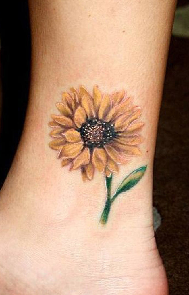 Cute Colorful Watercolor Sunflower Ankle Tattoo Ideas for Women  ideas lindas del tatuaje del girasol para las mujeres - www.MyBodiArt.com