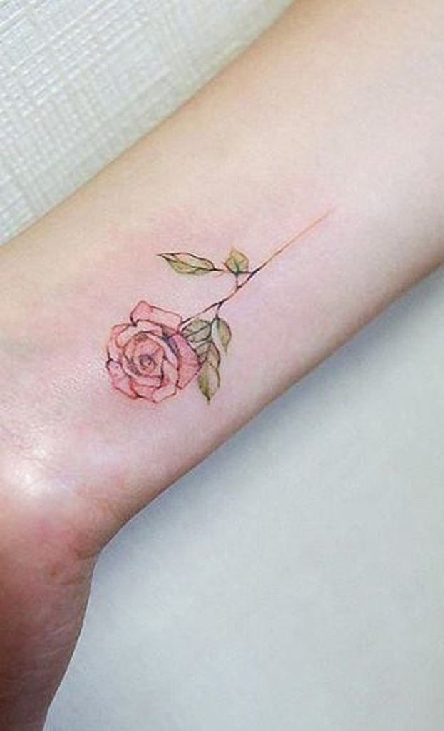 Small Watercolor Pink Rose Wrist Tattoo Ideas for Women -  Ideas de tatuaje de flores para mujeres - www.MyBodiArt.com
