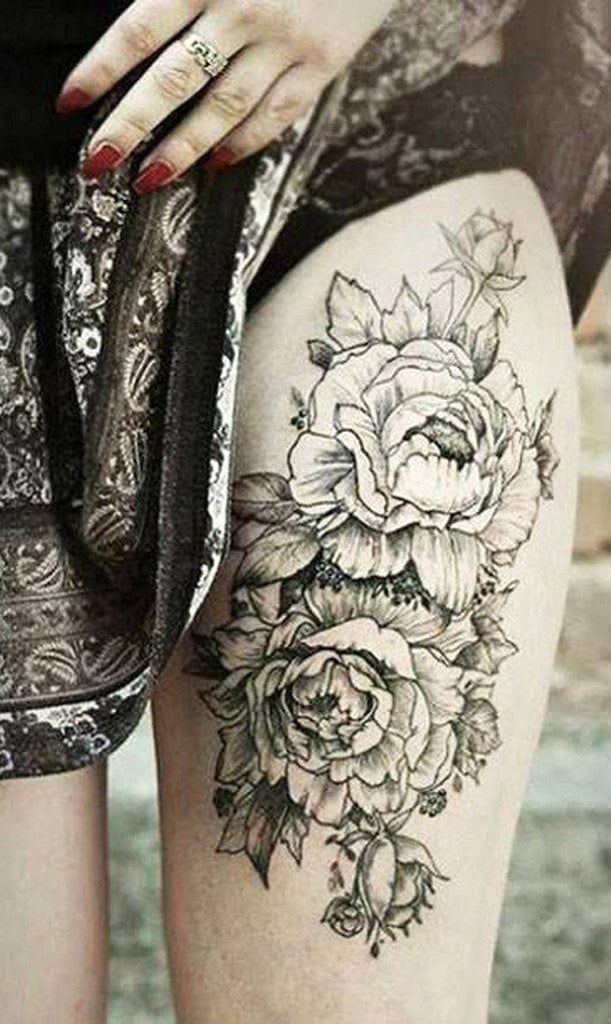 Cool Leg Tattoos - Black Floral Thigh Tattoo