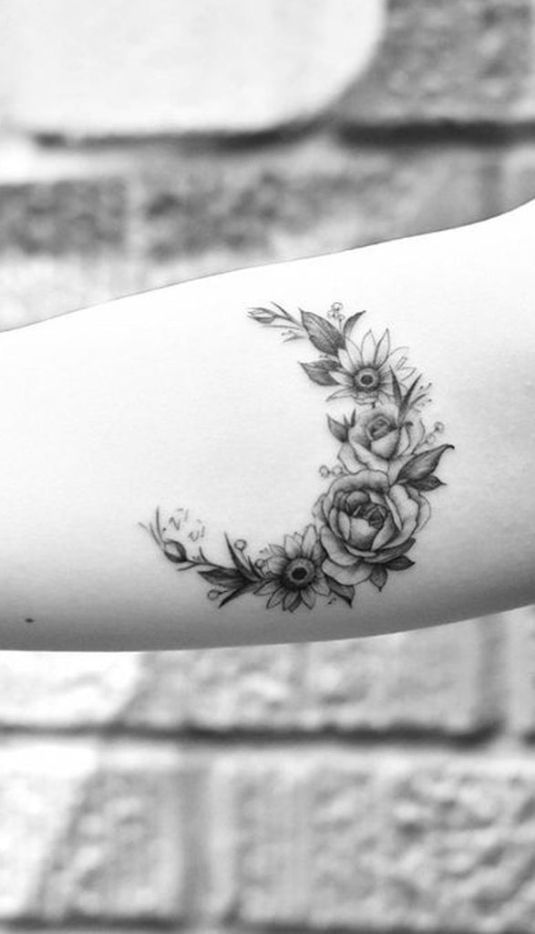 Black and White Floral Flower Moon Forearm Tattoo Ideas for Women -Tattoo Ideas for Women -  Ideas de tatuaje de flores para mujeres - www.MyBodiArt.com