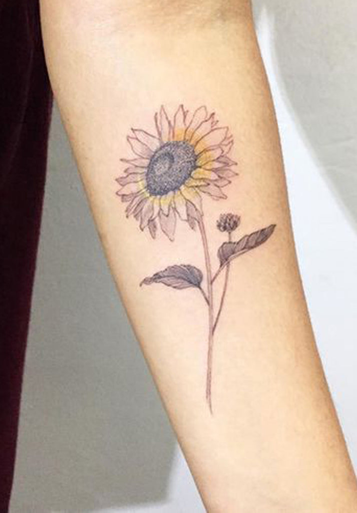 Cute Black Delicate Sketch Sunflower Forearm Tattoo Ideas for Women  ideas lindas del tatuaje del girasol para las mujeres - www.MyBodiArt.com