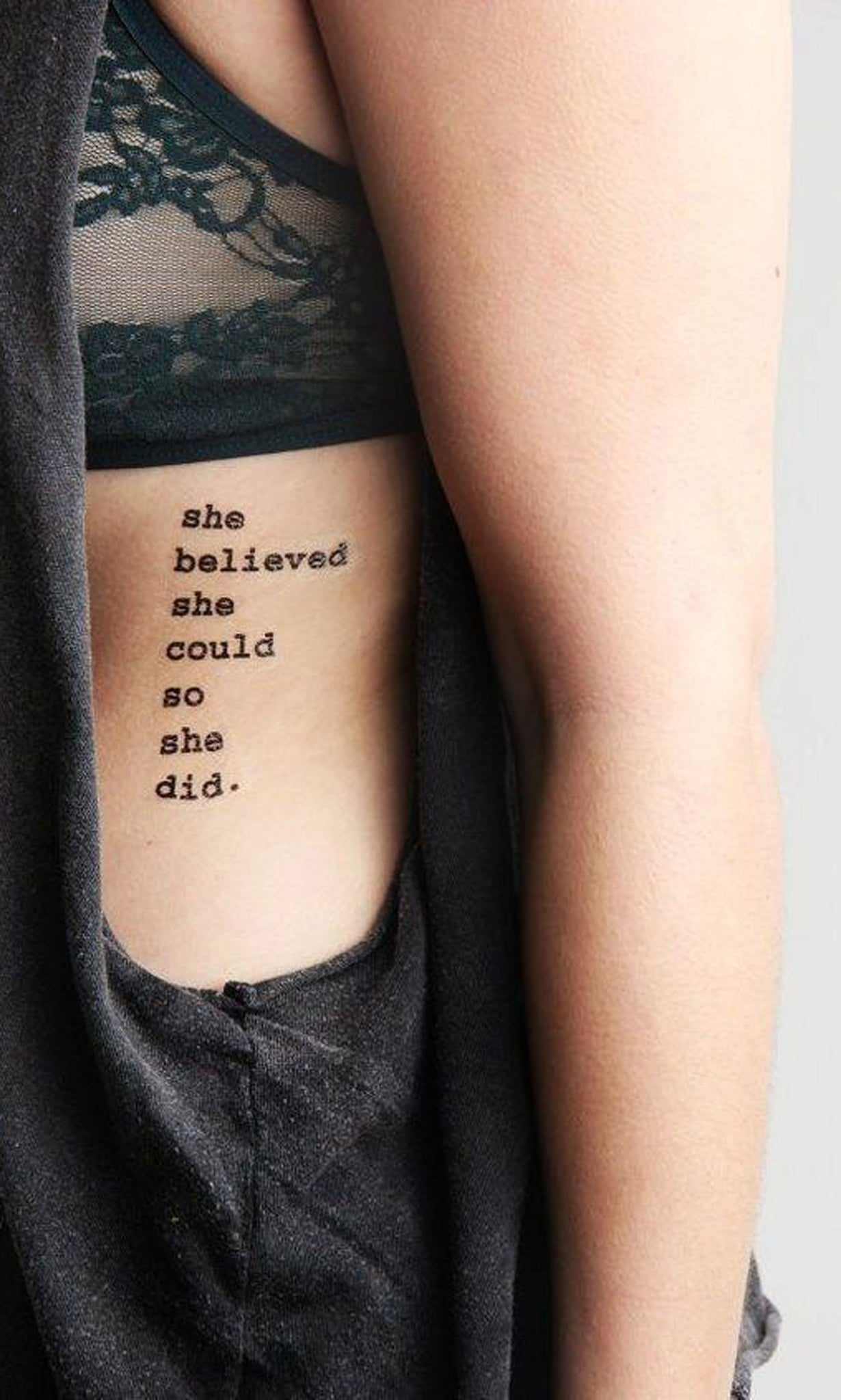 Girl Power Feminist Small Quote Rib Tattoo Ideas for Women - www.MyBodiArt.com