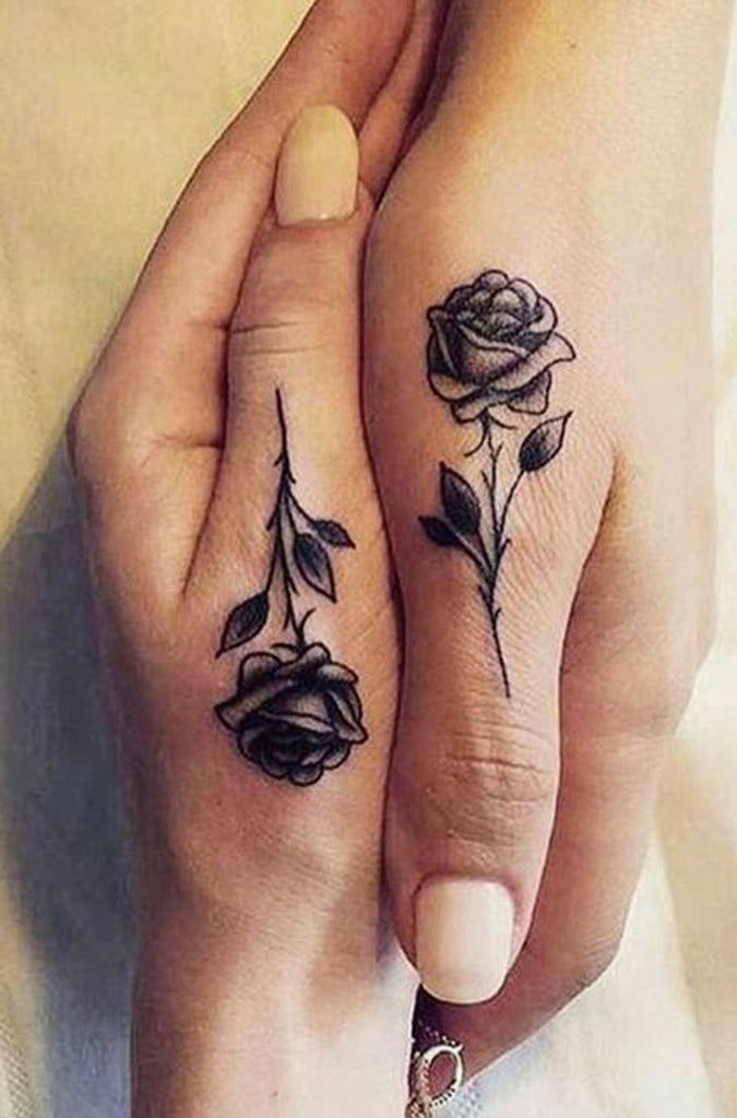 Cool Unique Black Single Rose Finger Hand Tattoo Ideas for Women -  Ideas de tatuaje de flores para mujeres - www.MyBodiArt.com