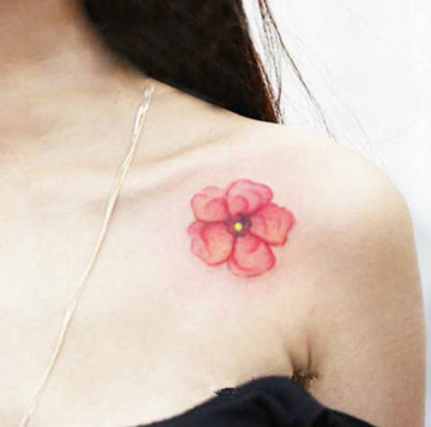 Watercolor Floral Flower Tattoo Shoulder Tattoo Ideas for Women at MyBodiArt.com