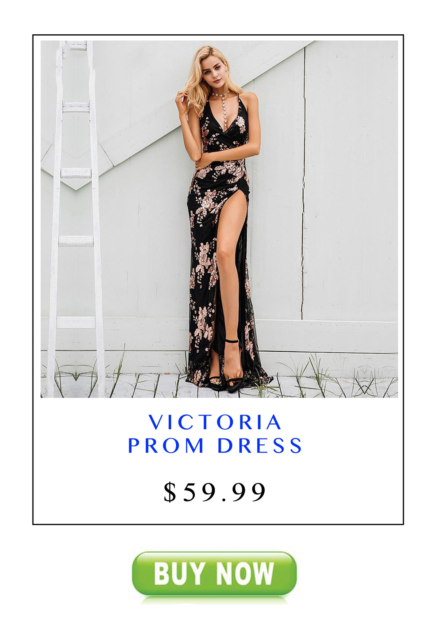 Long Prom Dresses 2018 Victoria Floral Sequin Backless Strappy Slit Maxi Dress