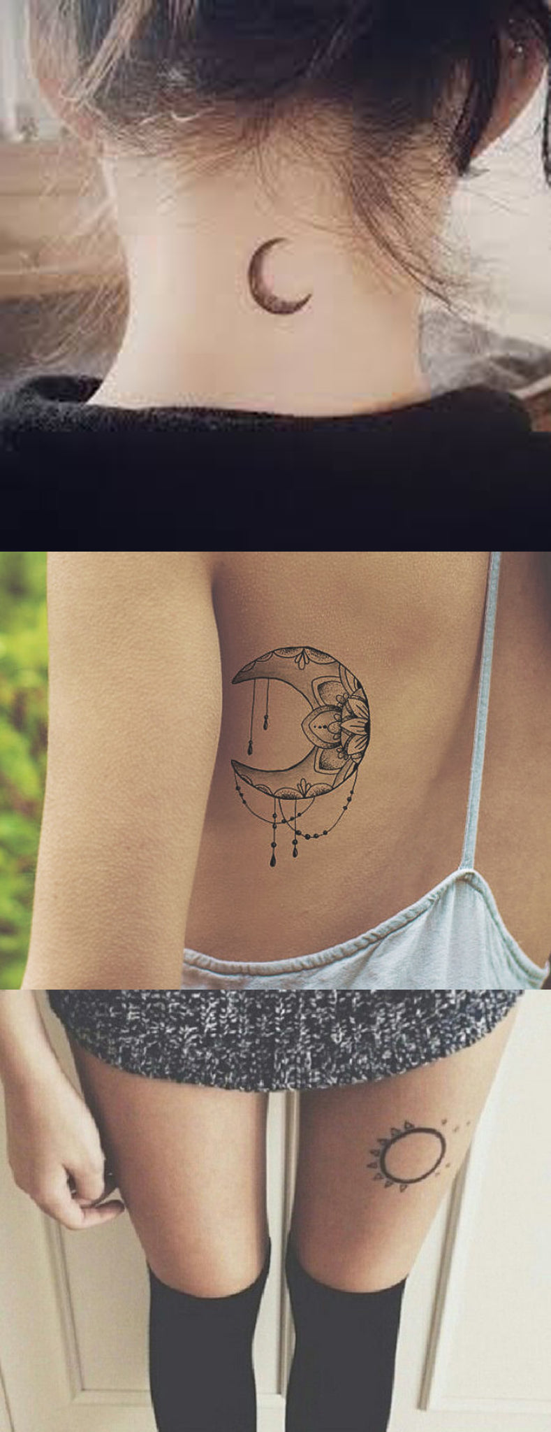 Minimal Simple Tattoo Ideas for Women at MyBodiArt.com - Back of Neck Moon Tatt - Sun Thigh Tat - Tribal Moon & Sun Rib