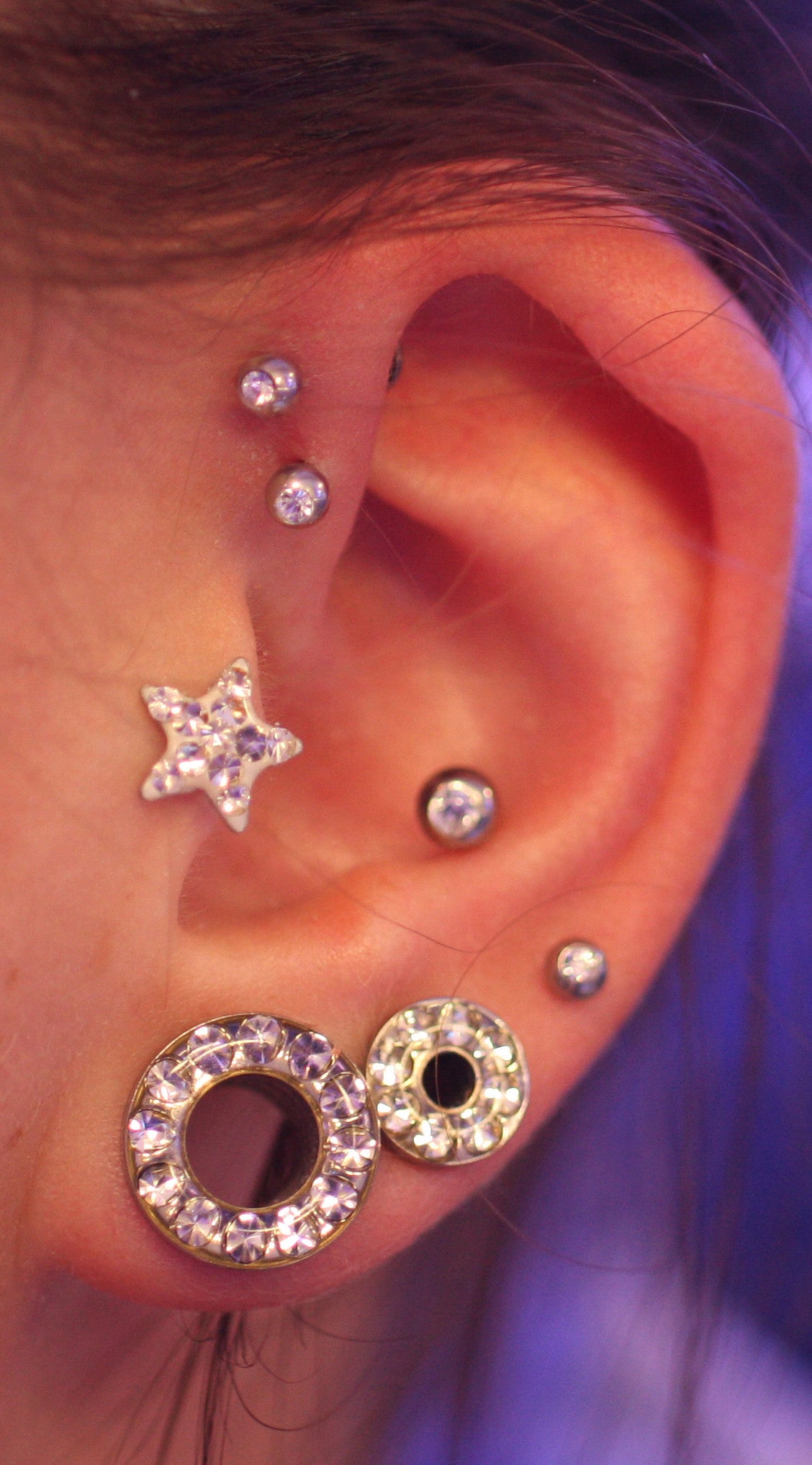 Multiple Unique and Cool Ear Piercings Ideas Silver at MyBodiArt.com - Crystal Star Tragus Ear Stud Triple Forward Helix Earrings Conch Auricle Barbell Crystal Ear Gauges