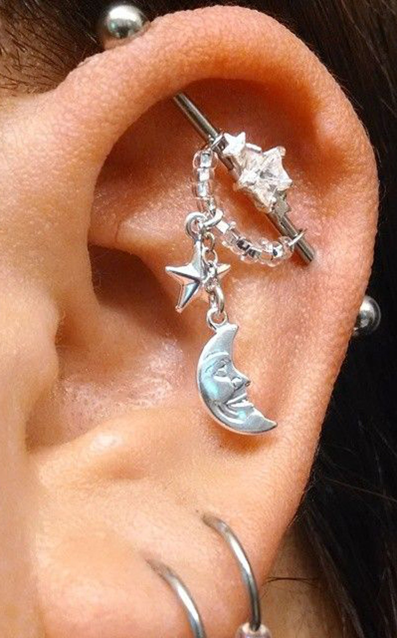 Celebrity Ear Piercing Ideas Kylie Jenner at MyBodiArt.com  Industrial Barbell 14G