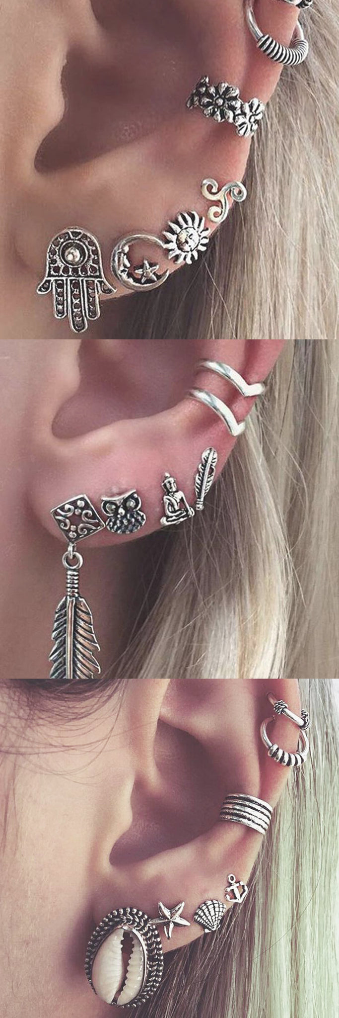 Tribal Boho Multiple Ear Piercing Ideas Combinations for Cartilage, Helix, Tragus, Rook, Daith, Conch - Aretes Oreja