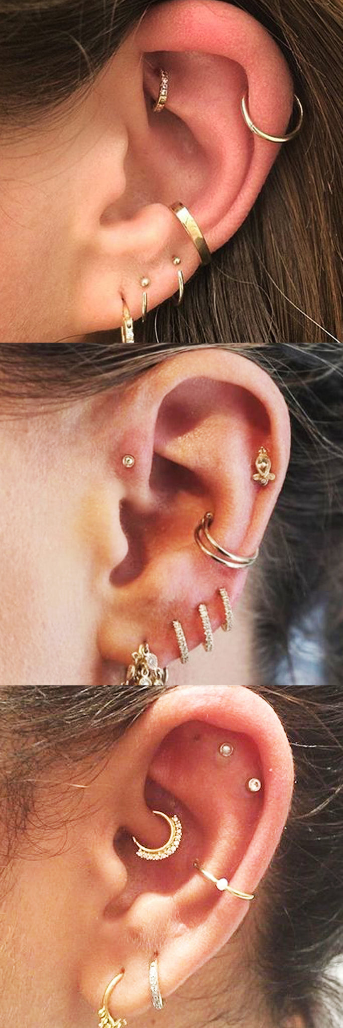 Cute Multiple Ear Piercing Gold Jewelry Combinations Ideas at MyBodiArt.com - Cartilage Ring - Helix Hoop - Rook Earring - Tragus Stud - Daith Jewelry