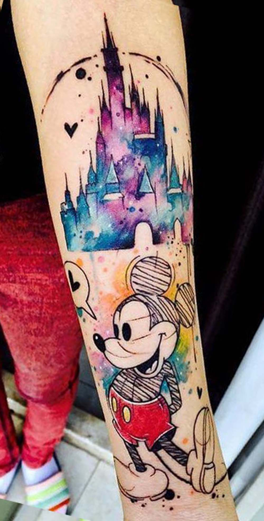 Watercolor Sketch Mickey Mouse Disney Castle Forearm Tattoo Ideas for Women - www.MyBodiArt.com
