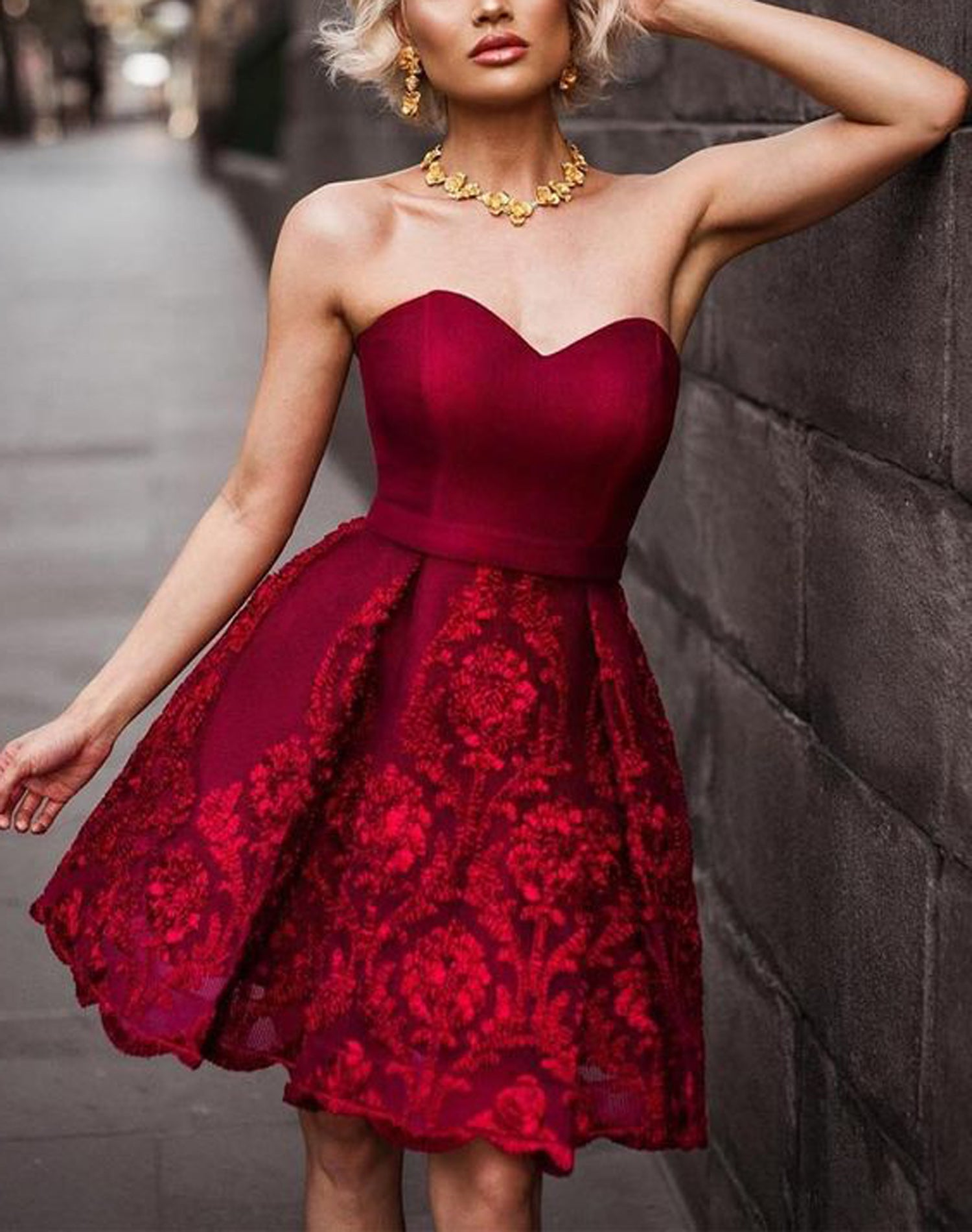 Fancy Christmas Outfit Ideas for New Years 2017 - Red Satin Skater Dress - MyBodiArt.com