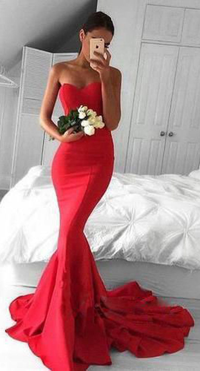 Classy Red Long Mermaid Prom Dress 2017 Gown Outfit Ideas - MyBodiArt.com