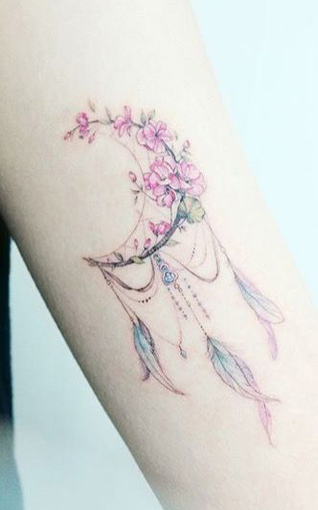 Pretty Watercolor Floral Flower Moon Feather Arm Tattoo Ideas for Women - www.MyBodiArt.com