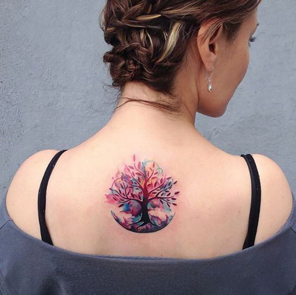 Tree Watercolor Tattoo - MyBodiArt.com