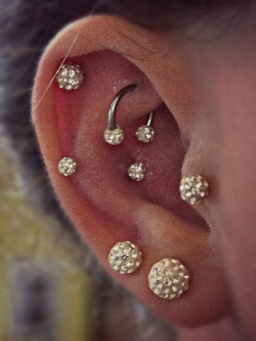 Ferido Ball Cartilage Piercing Jewelry, Shamballa Helix Piercing, Tragus Piercing, Conch Earring