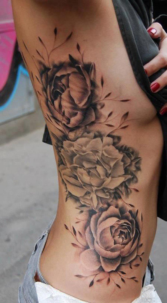 Black Roses Side Rib Tattoo for Women - MyBodiArt.com