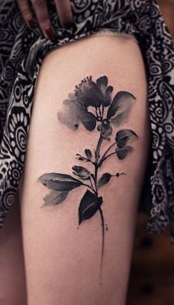 Small Black Watercolor Flower Tattoo - MyBodiArt.com