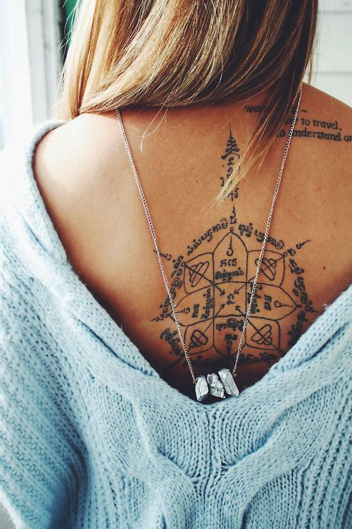 Beautiful Compass Upper Back Spine Neck Tattoo Ideas for Women at MyBodiArt.com
