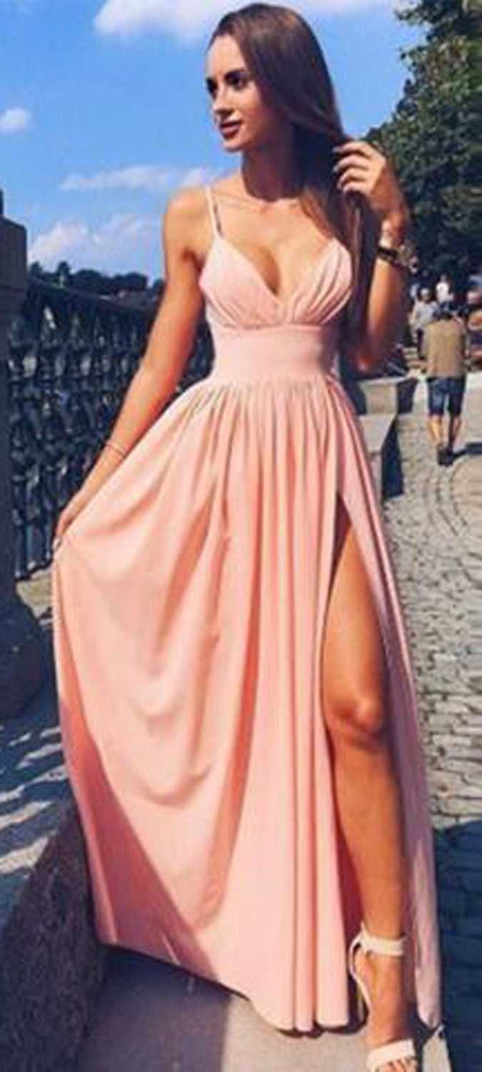 Beautiful Evening Gown Rose Pink Slit Prom Dress Outfit Ideas - MyBodiArt.com
