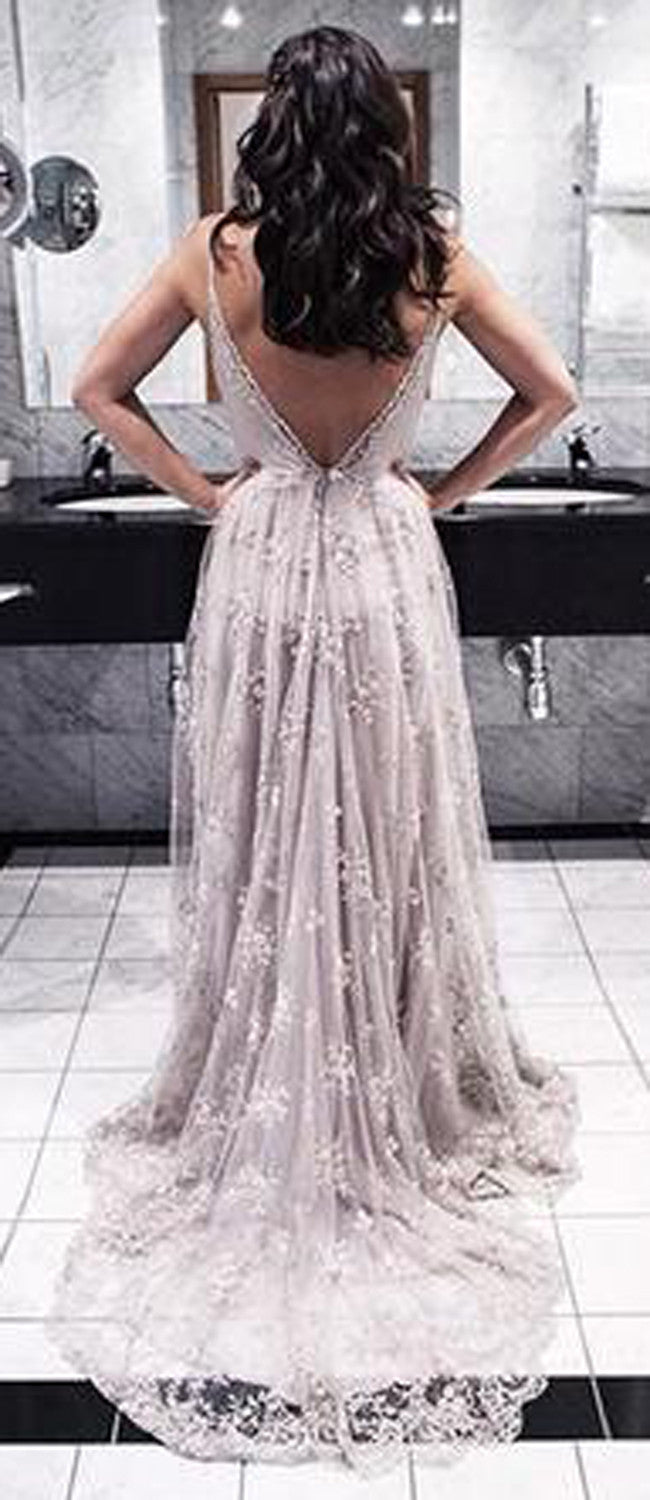 Grey Classy Backless Lace Princess Flowy Prom Dress - MyBodiArt.com