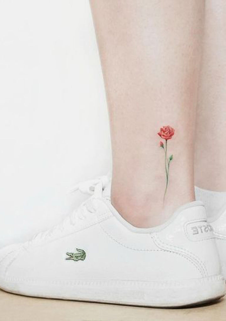 Tiny Minimalist Watercolor Red Ankle Tattoo Ideas for Women -  Ideas de tatuaje de flores para mujeres - www.MyBodiArt.com
