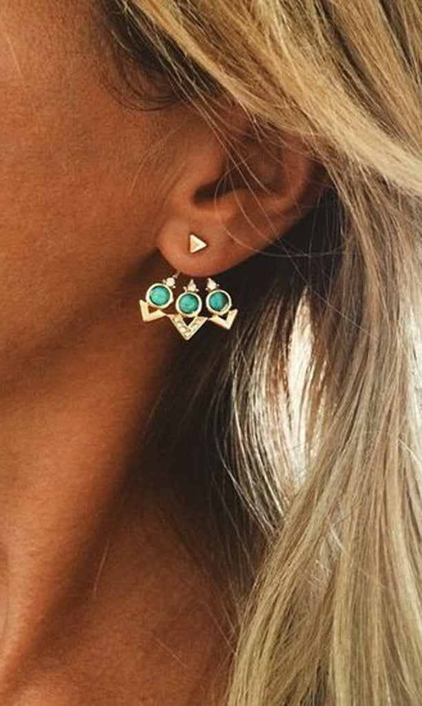 Turquoise Bohemian Boho Chic Tribal Earring Jacket - Ear Piercing Jewelry Ideas at MyBodiArt.com