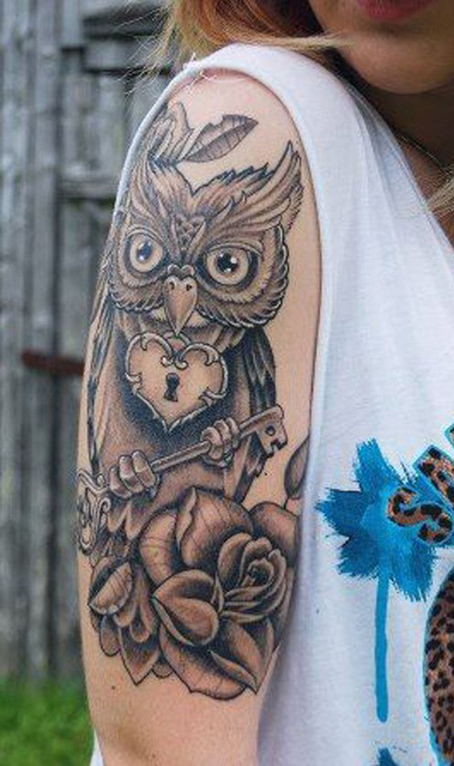 Large Geometric Barn Owl Arm Sleeve Tattoo Ideas for Women - MyBodiArt.com