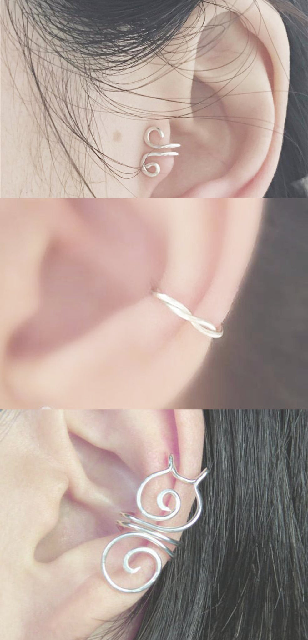 Minimal Simple Single Ear Piercing Ideas at MyBodiArt.com - Wire Wrapped Sterling Silver Earring Cuffs - Tragus Cartilage Conch Helix