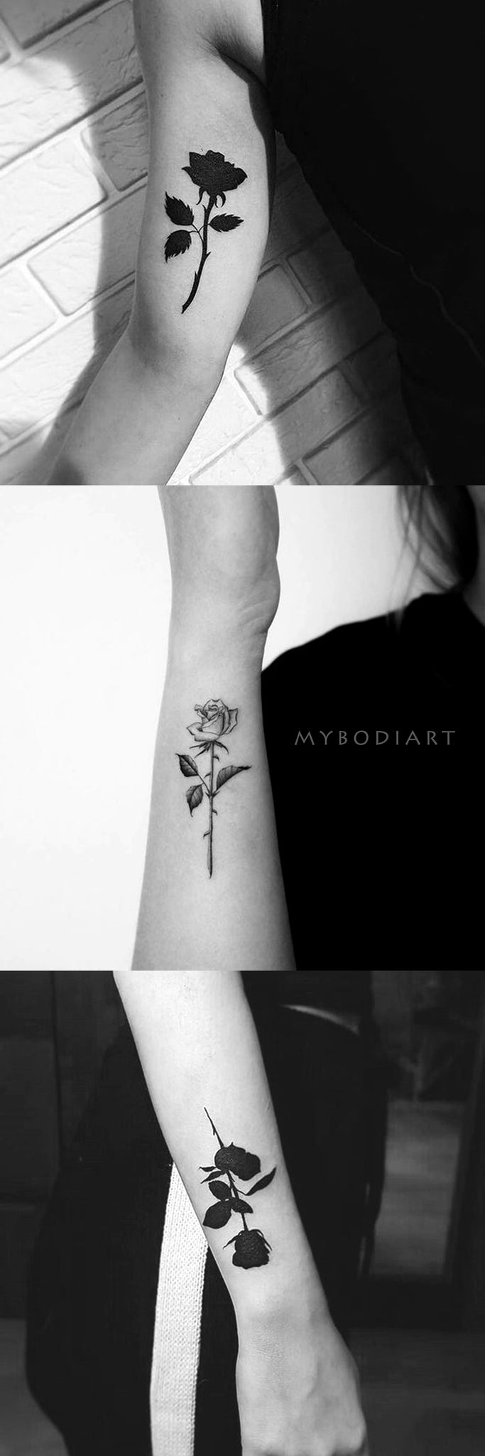 Darkest Black Rose Bicep Arm Tattoo ideas for Women - Ideas de tatuajes con flor rosa negra para mujeres - www.MyBodiArt.com