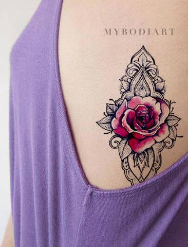 Beautiful Rose Geometric Mandala Rib Tattoo Ideas for Women - Unique Watercolor Black Linework Floral Flower Side Tat - ideas hermosas del tatuaje de la costilla color de rosa para las mujeres - www.MyBodiArt.com #tattoos