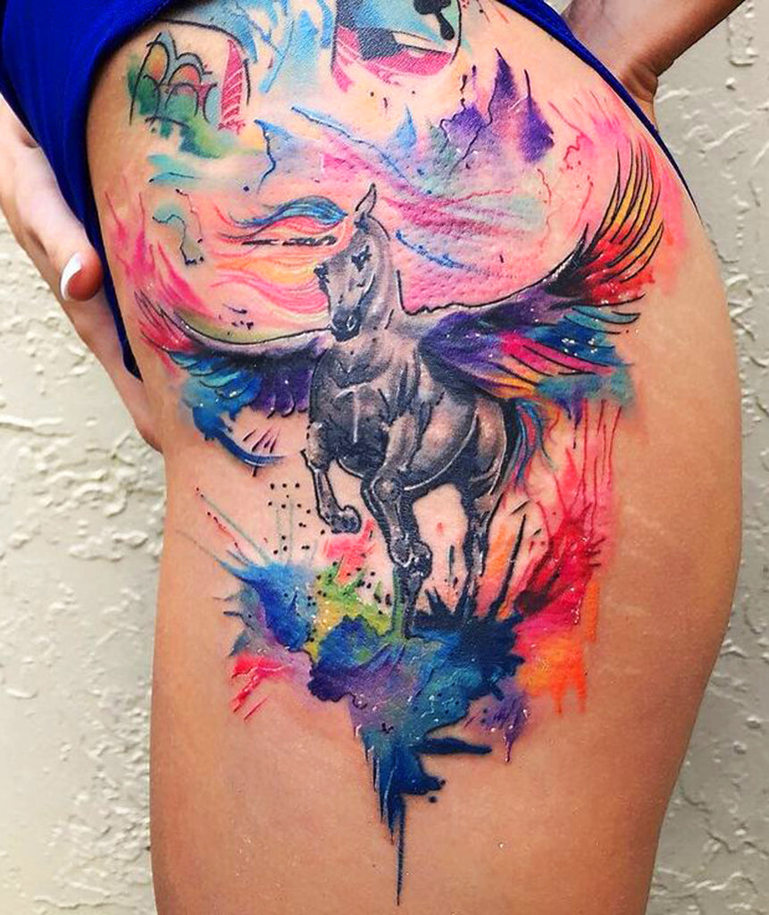 Unicorn Watercolor Hip Tattoo Ideas - MyBodiArt