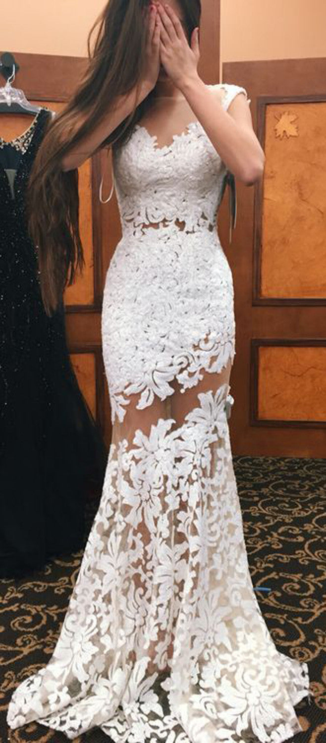 Modest White Floral Lace Mermaid Prom Dress 2017 - MyBodiArt.com