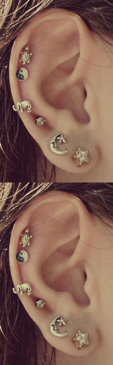 cute all around multiple ear piercing ideas at mybodiart.com - gold moon turtle star elephant cartilage helix earring studs