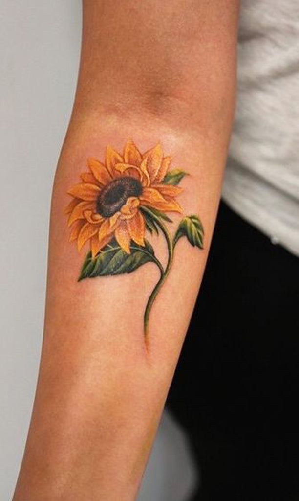 Colorful Watercolor Sunflower Flower Forearm Tattoo Ideas for Women  ideas lindas del tatuaje del girasol para las mujeres - www.MyBodiArt.com