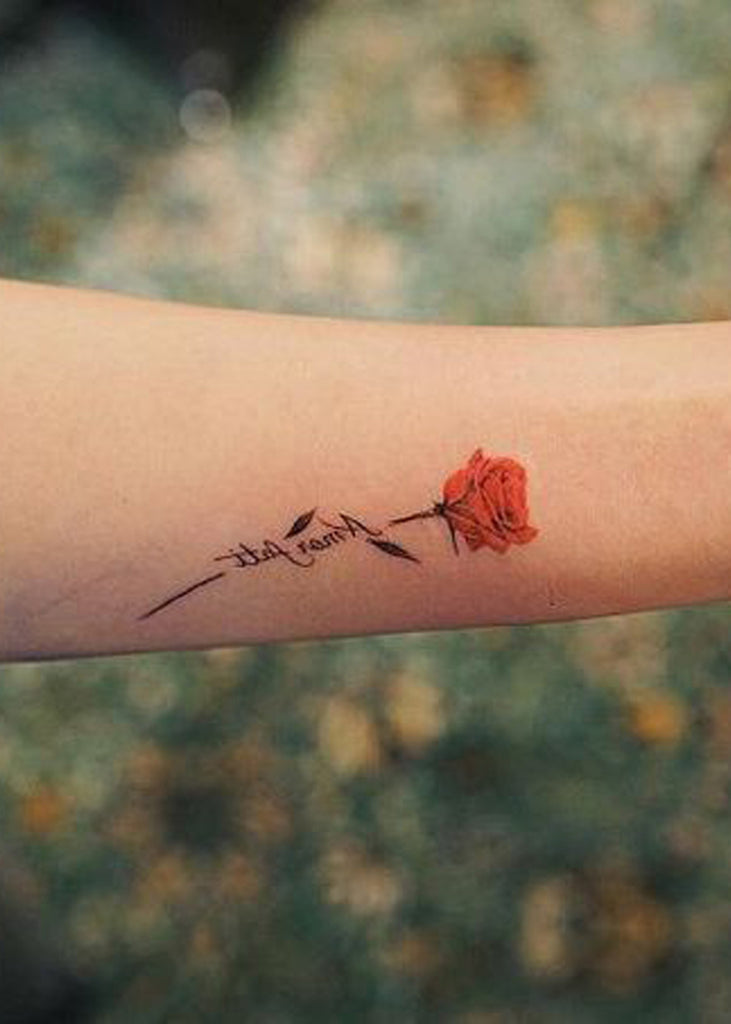 Cute Red Watercolor Rose Floral Flower Tattoo Ideas for Women -  Ideas de tatuaje de flores para mujeres - www.MyBodiArt.com