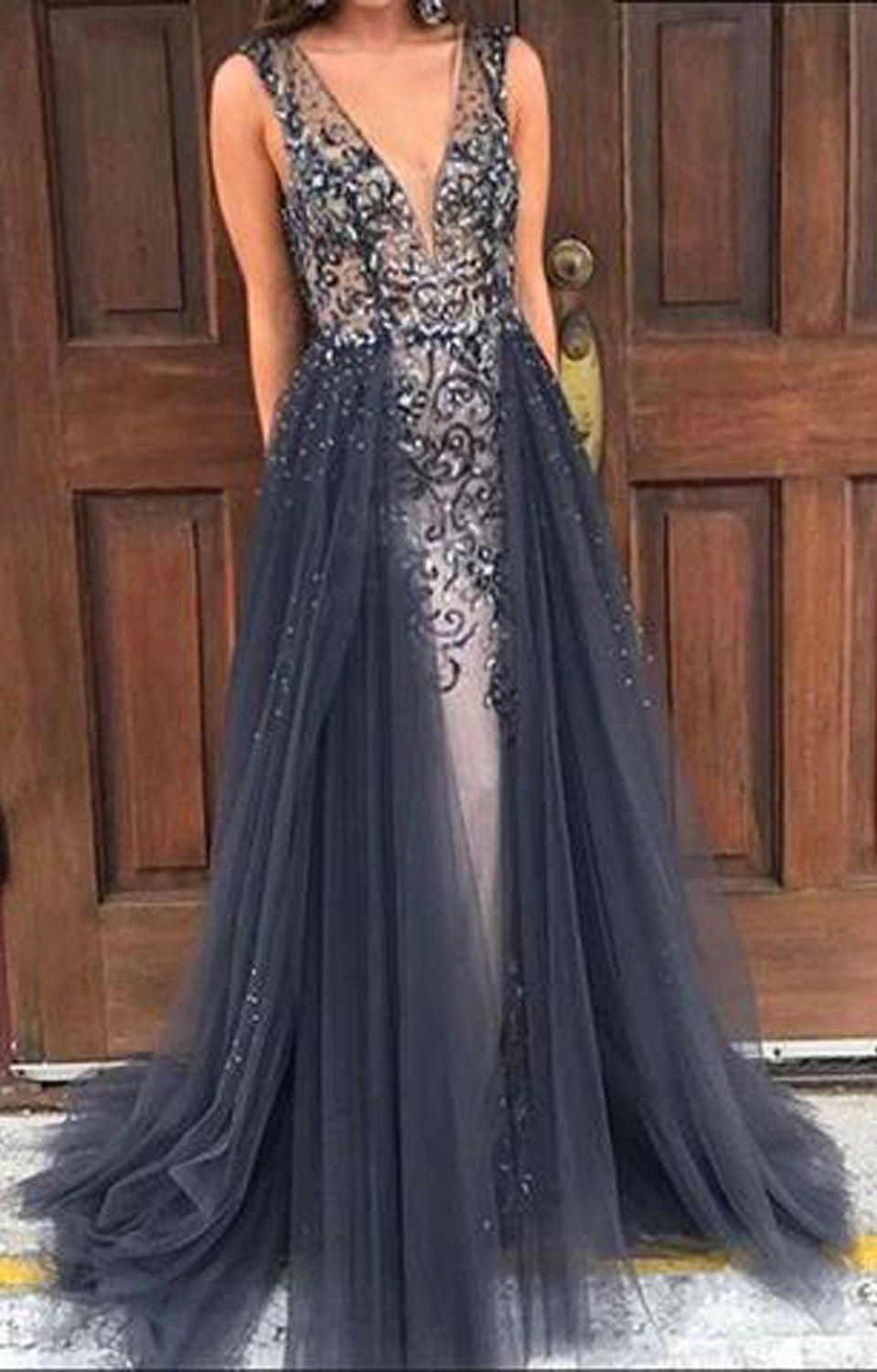 Cute Sparkly Black Long Prom Homecoming Graduation A Line Dress Outfit Ideas - MyBodiArt.com