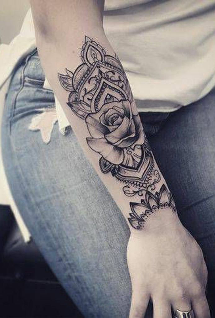 Geometric Mandala Black Rose Arm Sleeve Forearm Tattoo Ideas for Women -  Ideas de tatuaje de flores para mujeres - www.MyBodiArt.com