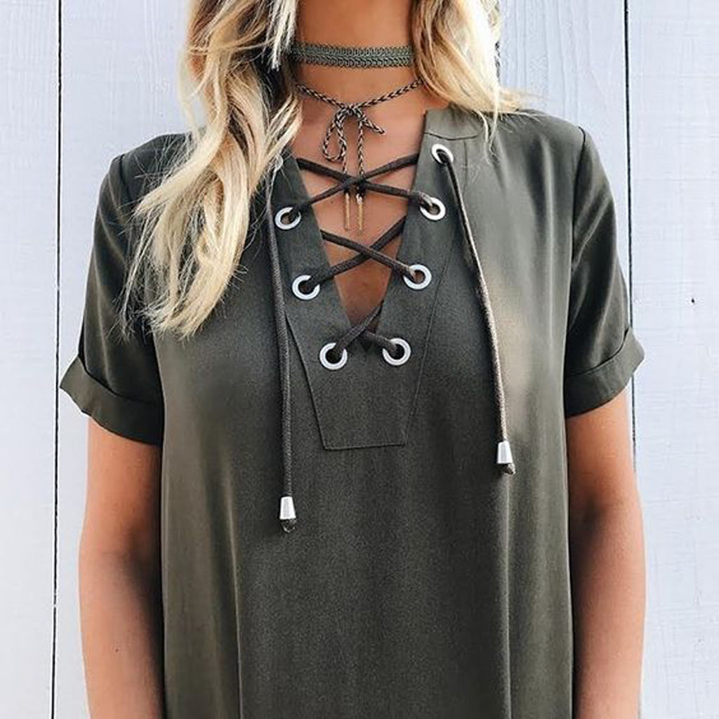 Cute Wrap Tie Up Choker Necklace Outfit Ideas - Lace Up T Shirt in Army Green at MyBodiArt.com