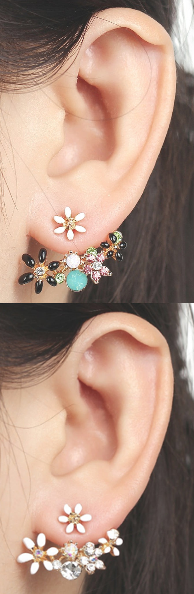 Pretty Ear Piercing Ideas at MyBodiArt.com - Vintage Black and White Earring Jacket Earrings