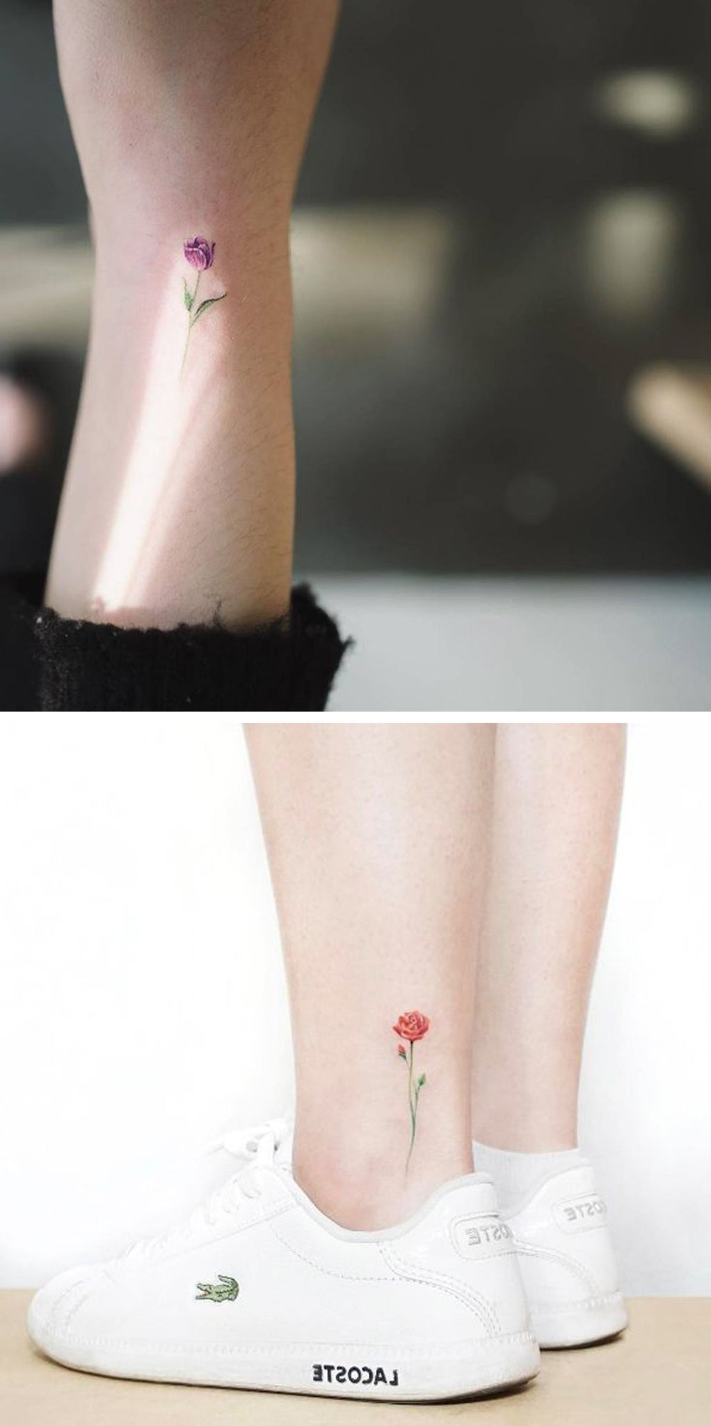 Tiny Watercolor Flower Ankle Tattoo Ideas - Colorful Rose Wrist Tatt - MyBodiArt.com