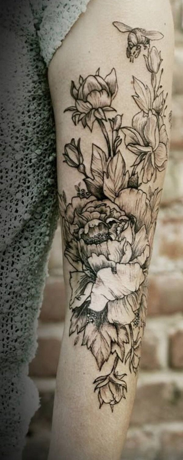 Womens Black and White Floral Arm Sleeve Temporary Tattoo - MyBodiArt.com