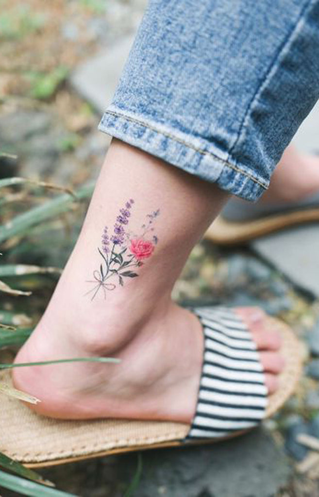 Cute Watercolor Pink Purple Wild Flower Ankle Tattoo Ideas for Women -  Ideas de tatuaje de flores para mujeres - www.MyBodiArt.com