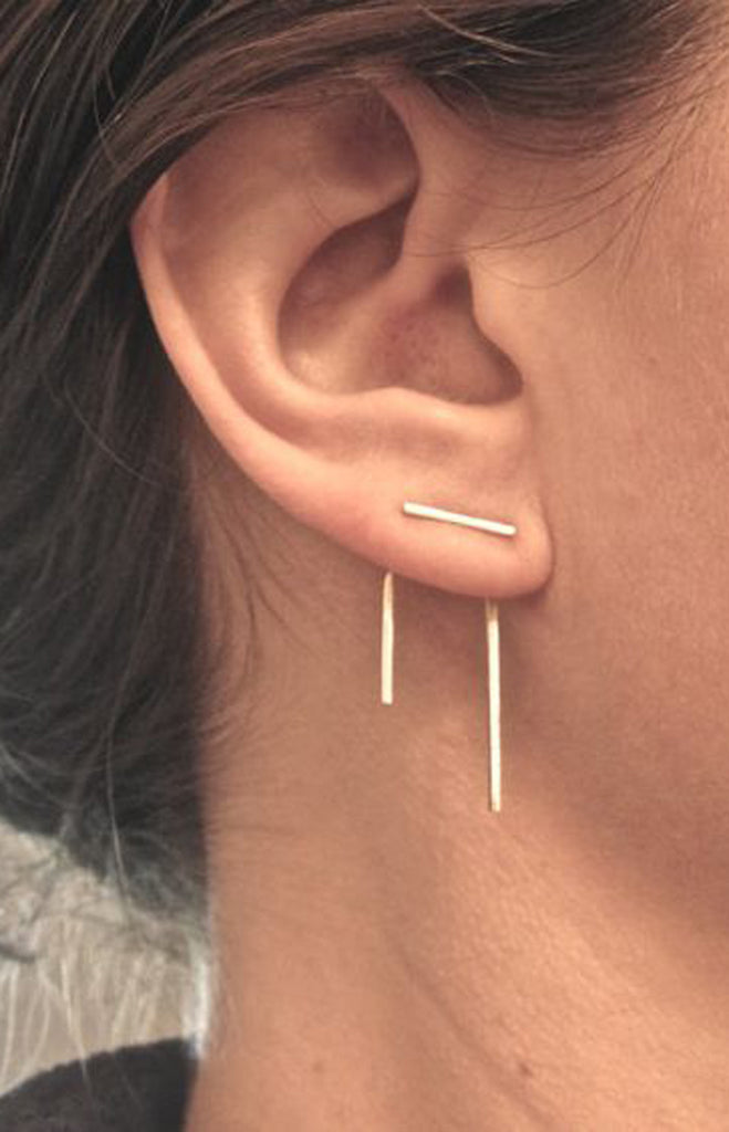 Earrings for the Minimalist - T Bar Ear Jacket Piercing - MyBodiArt.com